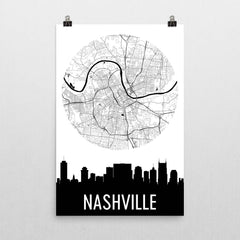 Nashville Skyline Silhouette Art Prints