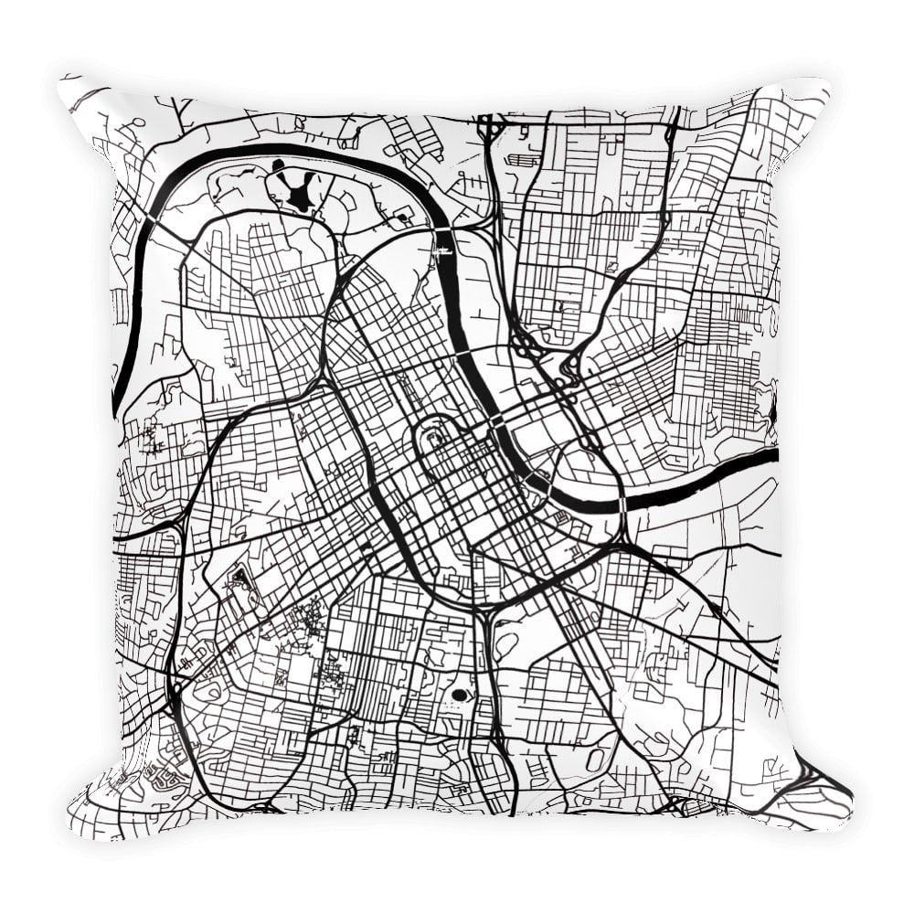 Nashville Map Pillow – Modern Map Art