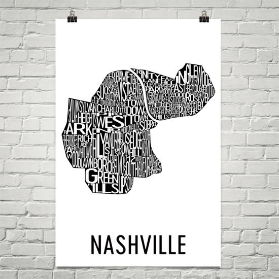 Nashville Neighborhood Typography Prints – Modern Map Art