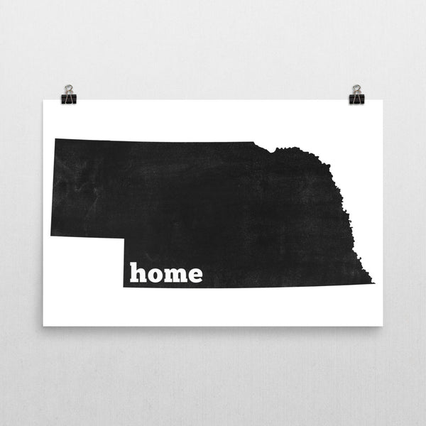 Nebraska Home State Map Art
