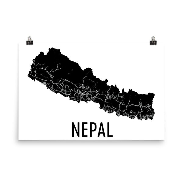 Nepal Wall Map Print - Modern Map Art
