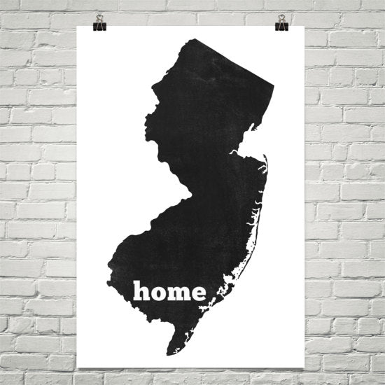 New Jersey Home State Map Art