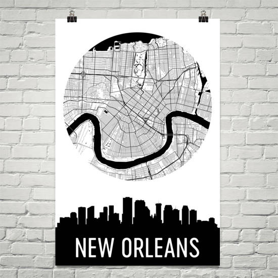 New Orleans Skyline Silhouette Art Prints