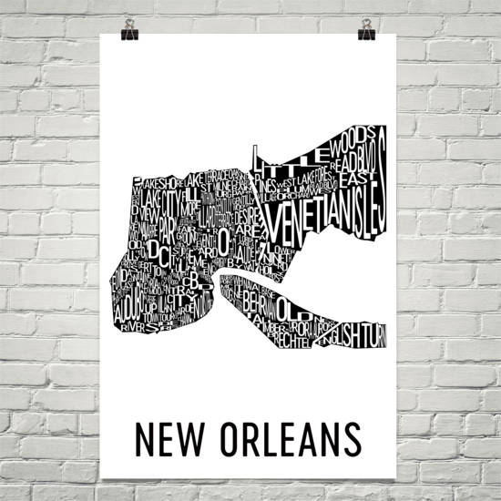 New Orleans Neighborhood Typography Prints – Modern Map Art