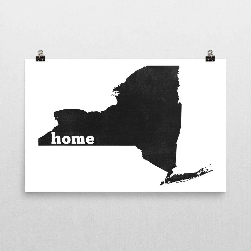 New York Home State Map Art