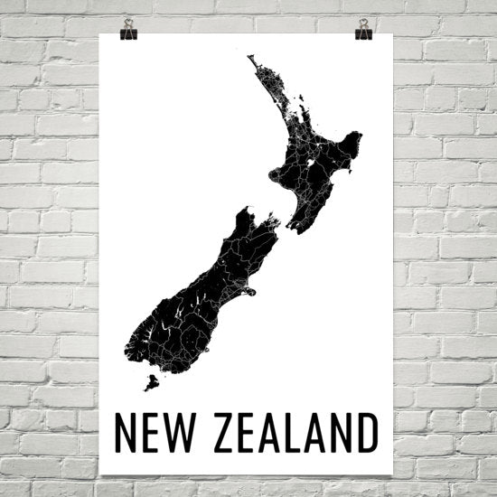 New Zealand Wall Map Print - Modern Map Art