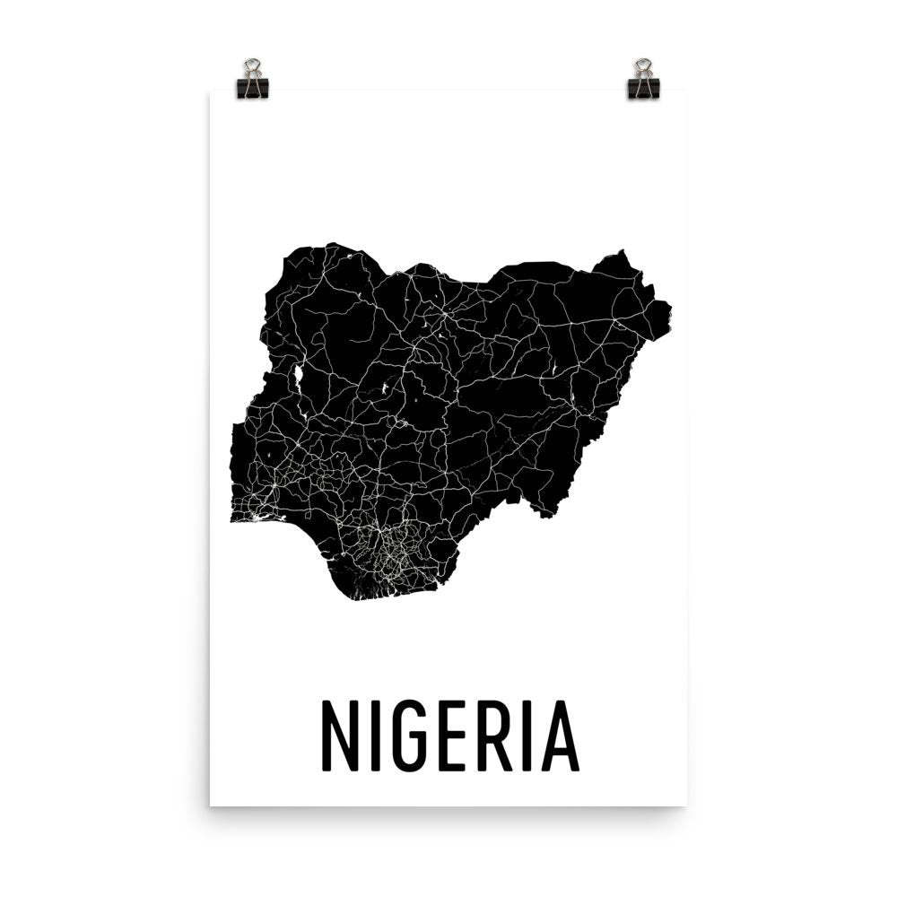 Nigeria Wall Map Print - Modern Map Art