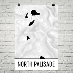 North Palisade Topographic Map Art