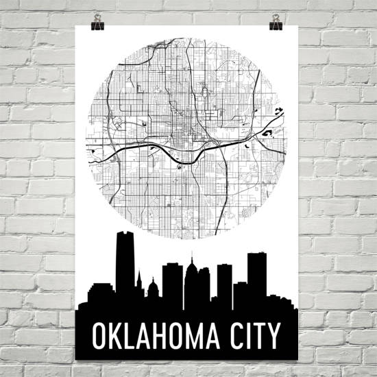 Oklahoma City Skyline Silhouette Art Prints