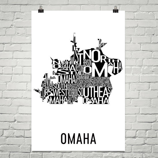 Omaha Neighborhood Typography Prints – Modern Map Art