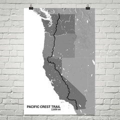 Pacific Crest Trail Map Art Prints