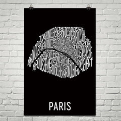 Paris Neighborhood Typography Prints – Modern Map Art