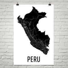 Peru Wall Map Print - Modern Map Art