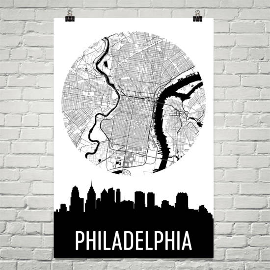 Philadelphia Skyline Silhouette Art Prints
