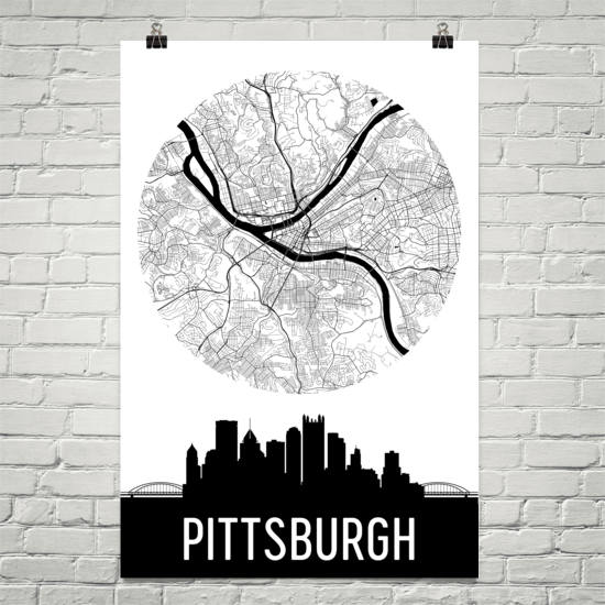 Pittsburgh Skyline Silhouette Art Prints