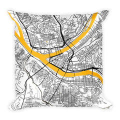 Pittsburgh Map Pillow – Modern Map Art