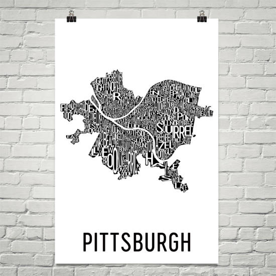 Pittsburgh Neighborhood Typography Prints – Modern Map Art