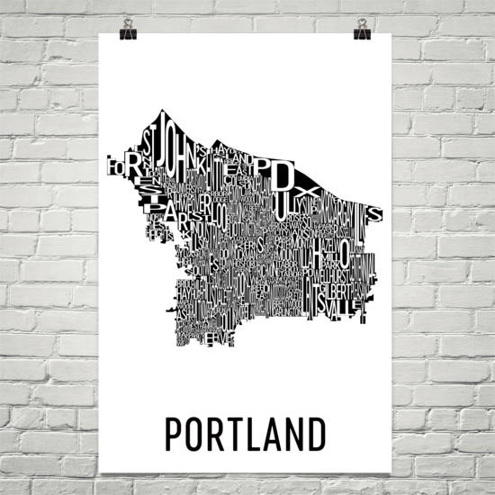 Portland Neighborhood Typography Prints – Modern Map Art on map flags, map design, antique maps and prints, map clothing, map of california, map accessories, map home decor, map wedding, map medieval prints, map craft prints,