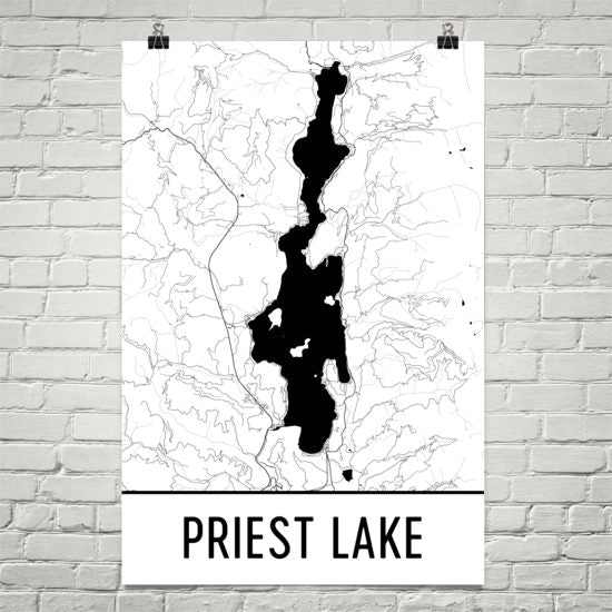 Priest Lake ID Art and Maps