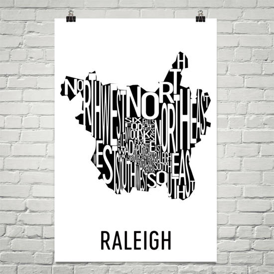 Raleigh Neighborhood Typography Prints – Modern Map Art