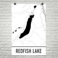 Redfish Lake ID Art and Maps