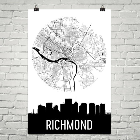 Richmond Skyline Silhouette Art Prints