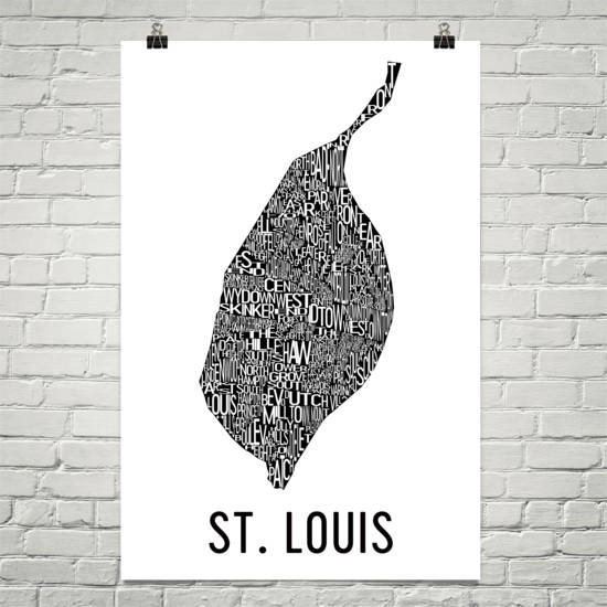 St. Louis Neighborhood Typography Prints – Modern Map Art