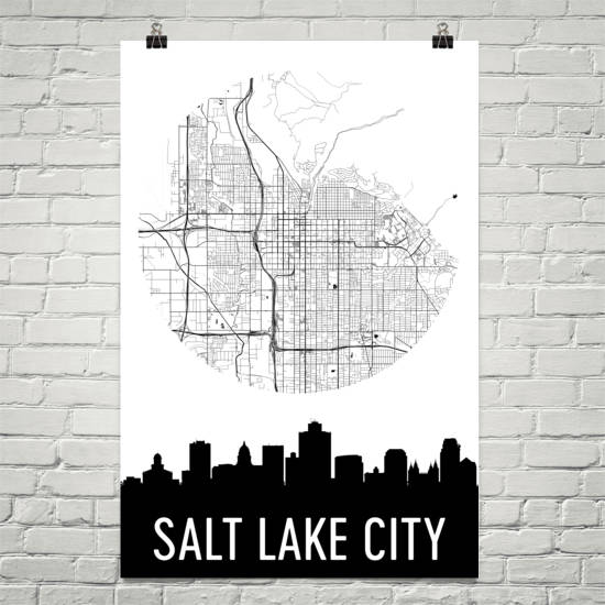 Salt Lake City Skyline Silhouette Art Prints