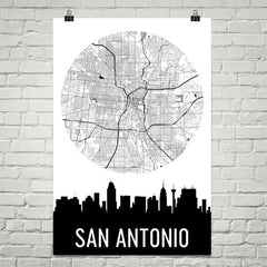 San Antonio Skyline Silhouette Art Prints