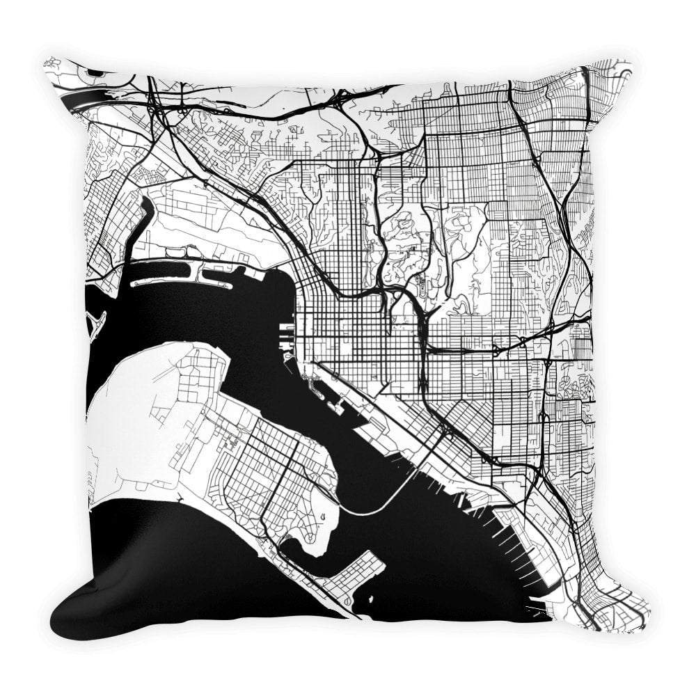 San Diego Map Pillow – Modern Map Art