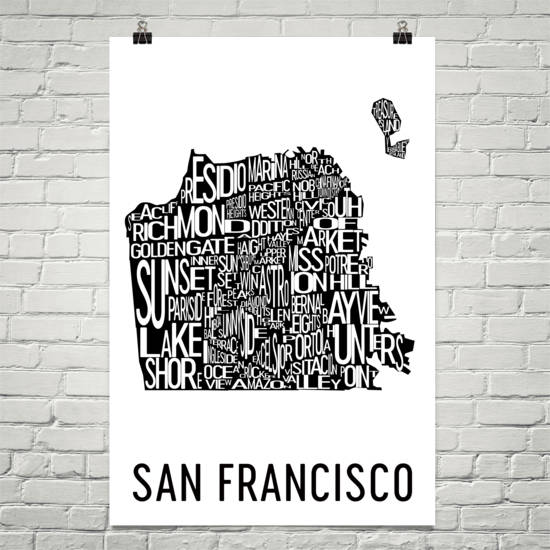 San Francisco Neighborhood Typography Prints – Modern Map Art