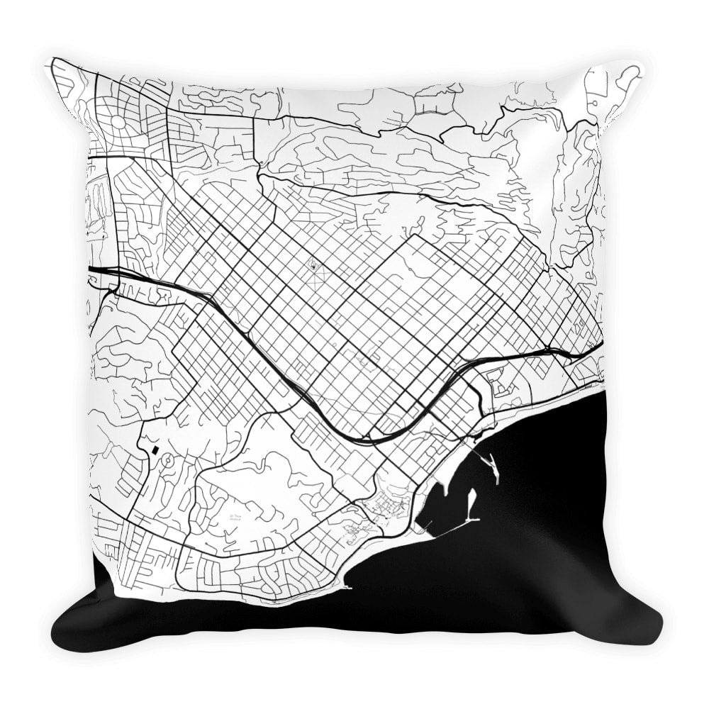 Santa Barbara Map Pillow – Modern Map Art
