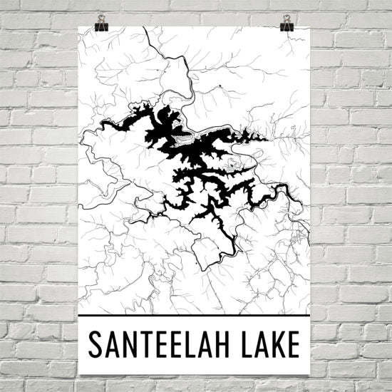 Santeelah Lake NC Art and Maps