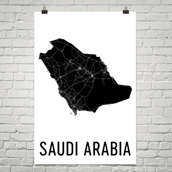 Saudi Arabia Wall Map Print - Modern Map Art