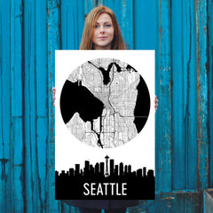 Seattle Skyline Silhouette Art Prints