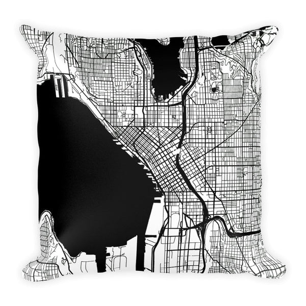 Seattle Map Pillow – Modern Map Art