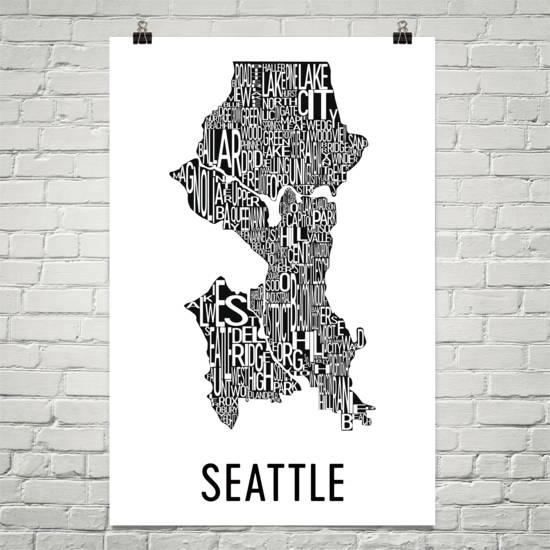 Seattle Neighborhood Typography Prints – Modern Map Art