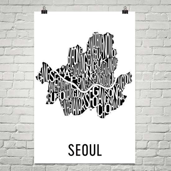 Seoul Neighborhood Typography Prints – Modern Map Art