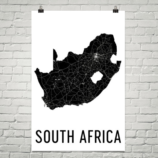 South Africa Wall Map Print - Modern Map Art