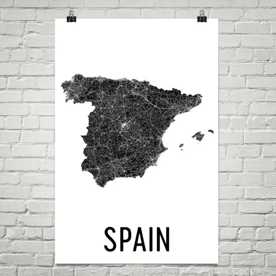 Spain Wall Map Print - Modern Map Art