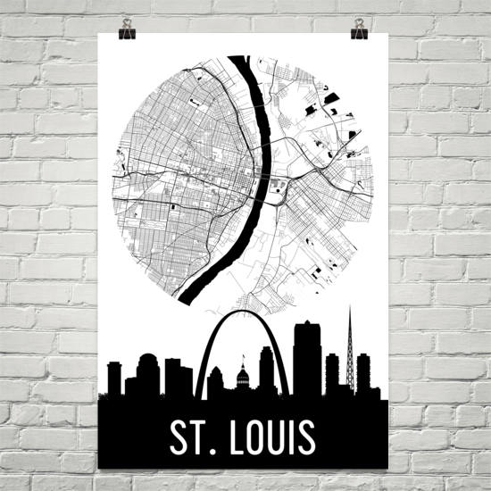 St. Louis Skyline Silhouette Art Prints