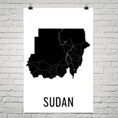 Sudan Wall Map Print - Modern Map Art