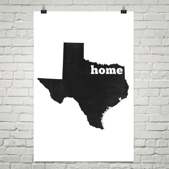 Texas Home State Map Art