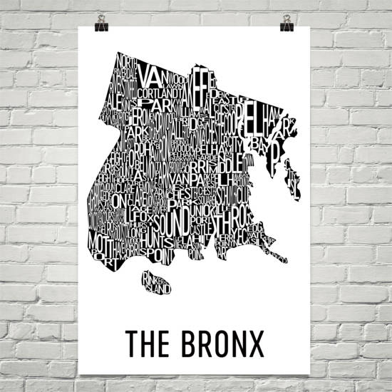 The Bronx Neighborhood Typography Prints – Modern Map Art