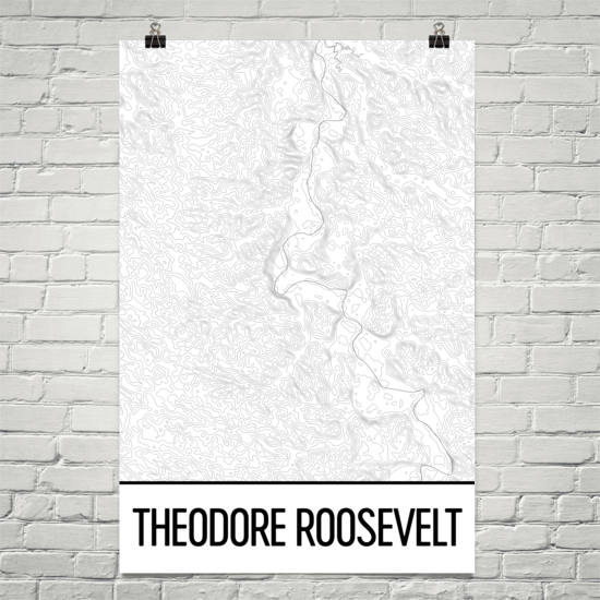Theodore Roosevelt National Park Topographic Map Art