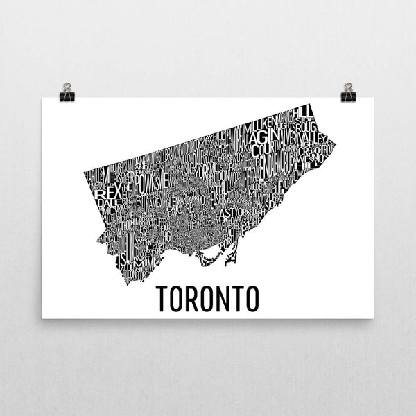 Toronto Neighborhood Typography Prints – Modern Map Art