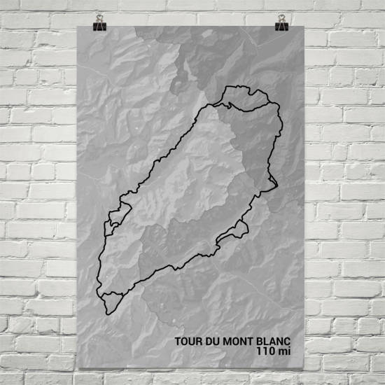 Tour Du Mont Blanc Trail Map Art Prints