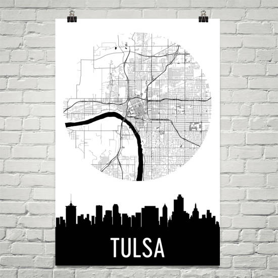 Tulsa Skyline Silhouette Art Prints