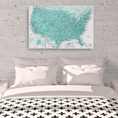 Watercolor United States Push Pin Map With 1,000 Pins