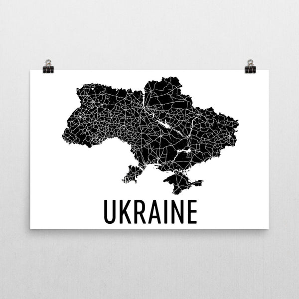 Ukraine Wall Map Print - Modern Map Art